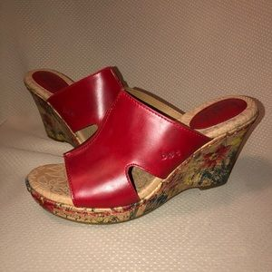 BOC Red Leather Wedge